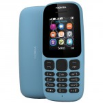 NOKIA 105 SINGLE SIM BLUE EU (2017) (EU ADAPTOR) (English Menu)