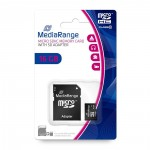 MediaRange Micro SDHC Class 10 With SD Adaptor 16 GB (High Capacity)