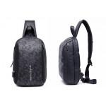 ARCTIC HUNTER Τσάντα Crossbody XB-00081-BKG, USB, αδιάβροχη, μαύρη-grid