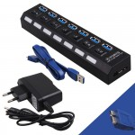 POWERTECH USB 3.0 Hub PT-269, 7 θύρες, On-Off + Μετασχηματιστής ρεύματος