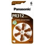PANASONIC μπαταρίες ακουστικών βαρηκοΐας PR312, mercury free, 1.4V, 6τμχ