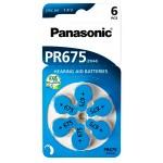 PANASONIC μπαταρίες ακουστικών βαρηκοΐας PR675, mercury free, 1.4V, 6τμχ
