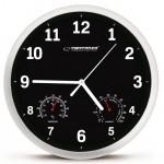 ESPERANZA Ρολόι τοίχου Lyon EHC016K, θερμόμετρο/υγρόμετρο, 25cm, μαύρο