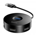 BASEUS USB hub CAHUB-F01 USB 3.0, 1x USB 3.0, 3x USB 2.0, 14cm, μαύρο