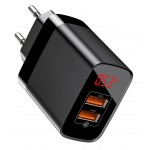 BASEUS φορτιστής τοίχου CCJMHA-A01, 2x USB, 18W, με οθόνη, μαύρο