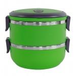 Δοχείο φαγητού AG479A με επένδυση inox, σετ 2τμχ, πράσινο