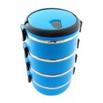 Δοχείο φαγητού AG479D με επένδυση inox, σετ 4τμχ, μπλε