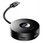 BASEUS USB hub CAHUB-U01 USB 3.0, 1x USB 3.0, 3x USB 2.0, 1m, μαύρο