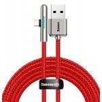 BASEUS καλώδιο USB σε Type-C CAT7C-C09, LED, 4A 40W, 2m, κόκκινο