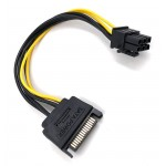 """POWERTECH Καλώδιο SATA 8"""" 15pin σε PCI-E 6pin CAB-W032, 15cm"""