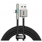 BASEUS καλώδιο USB σε Type-C CAT7C-C01, LED, 4A 40W, 2m, μαύρο