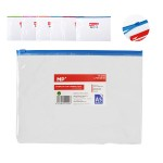 MP διάφανος φάκελος με zip PC036, 18 x 24.5cm, 24 τμχ, χρωματιστοί
