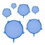 Bruno σετ σιλικονούχων καπακιών για δοχεία τροφίμων BRN-0044, 6τμχ, μπλε