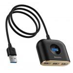 BASEUS USB hub CAHUB-AY01, 1x USB 3.0, 3x USB 2.0, μαύρο