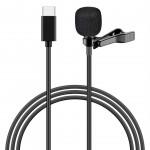 POWERTECH μικρόφωνο CAB-UC048 με ενσωματωμένο clip-on, USB Type-C, μαύρο