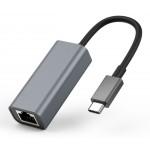 POWERTECH converter USB Type-C σε ethernet RJ45 PTH-044, 1000M, ασημί