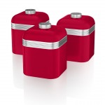 Swan Retro Set of 3 Canisters - Κόκκινο