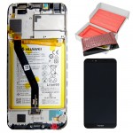 HONOR 7A/HUAWEI Y6 2018/Y6 PRIME 2018 ΟΘΟΝΗ + TOUCH SCREEN + LENS + FRAME + BATTERY 02351WDU BLACK ORIGINAL SERVICE PACK