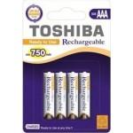 Toshiba Επαναφορτ. Μπαταρία  AAA  750mAh  PRE-CHARGED  συσκ. 4