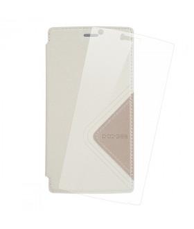 Doogee X5 Max Flip Θήκη Λευκό & Tempered Glass