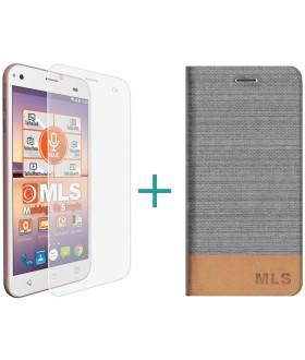 """MLS Alu 3G 5.0"""" Flip Θήκη Ασημί & Tempered Glass"""