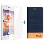 MLS Color Mini 4G Flip Θήκη Μπλε & Tempered Glass