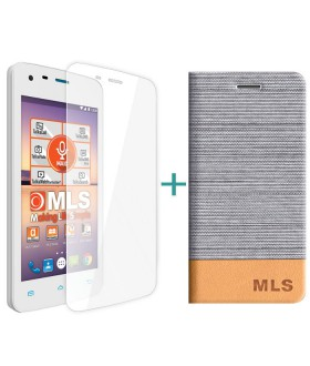 MLS Color Mini 4G Flip Θήκη Ασημί & Tempered Glass