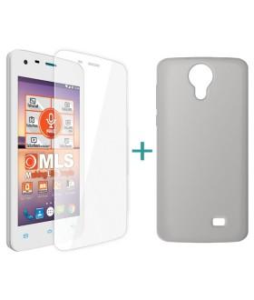 MLS Color Mini 4G Θήκη Σιλικόνης Μαύρο & Tempered Glass