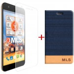 "MLS Slice 4G 5.0"" Flip Θήκη Μπλε & Tempered Glass"