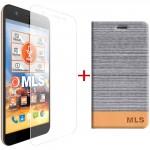 "MLS Slice 4G 5.0"" Flip Θήκη Ασημί & Tempered Glass"