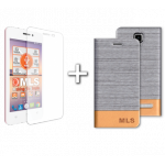 "MLS Top-S 4G 4.5"" Flip Θήκη Ασημί & Tempered Glass"