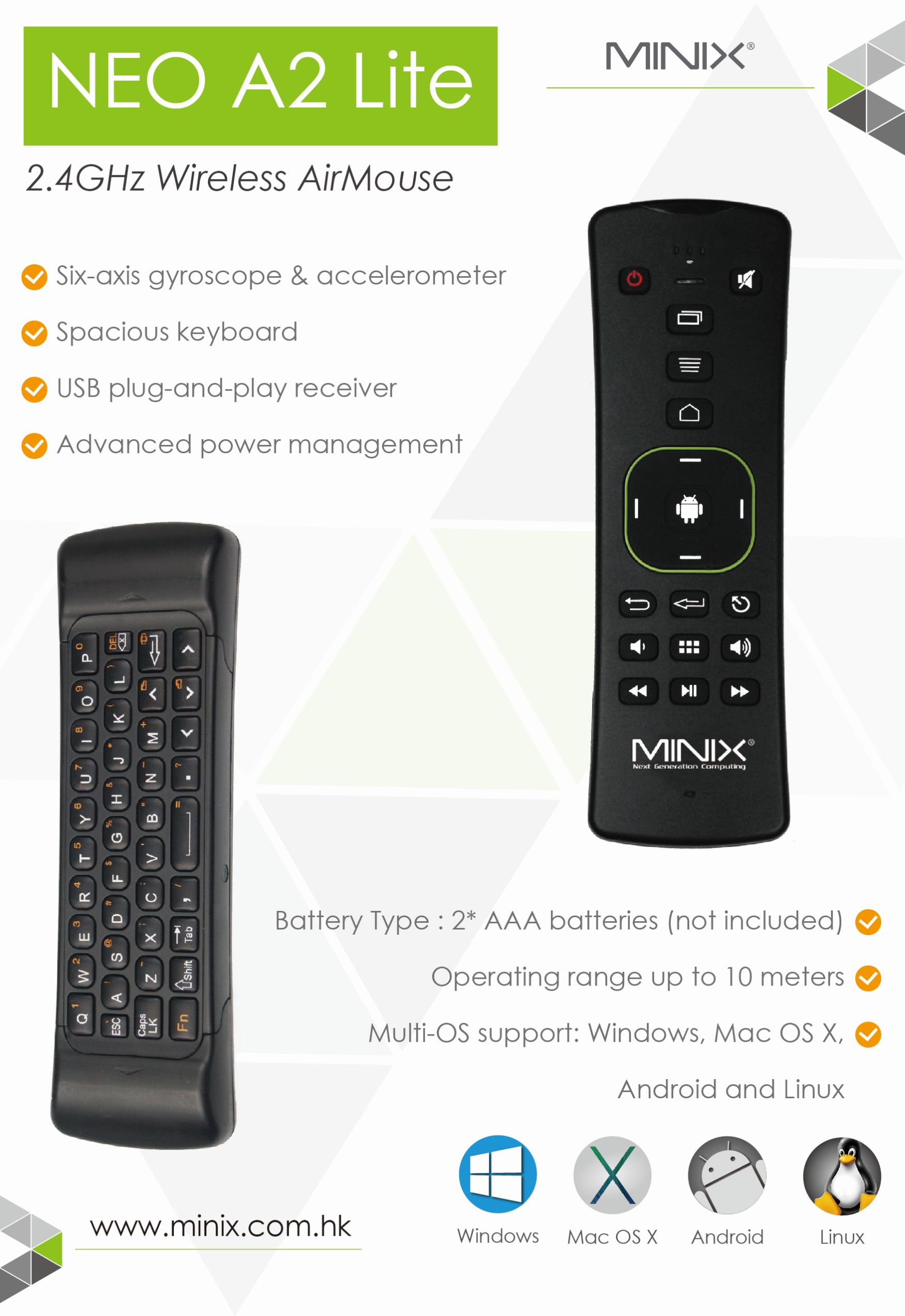 Minya.gr - Minix Neo A2 Lite 2.4GHz Wireless Air Mouse